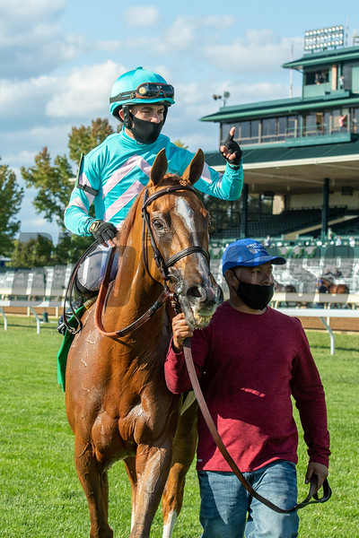 Uni with Joel Rosario wins the First Lady (G1) at Keeneland on October 3, 2020.