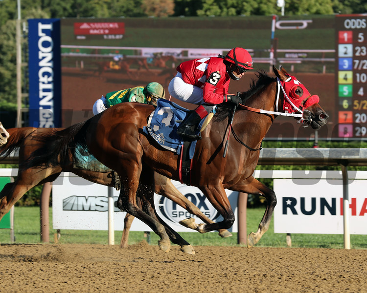 Letruska wins the Shuvee Stakes Sunday, August 30, 2020 at Saratoga. Photo: Coglianese Photos/Janet Garaguso