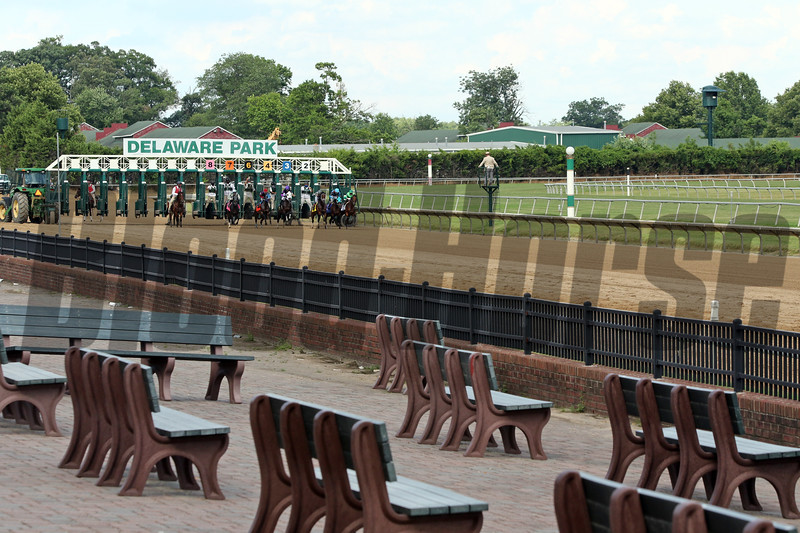The start of the 83rd Running of the Delaware Handicap (GII) with more benches than fans at Delaware Park on July 11, 2020. Photo By: Chad B. Harmon