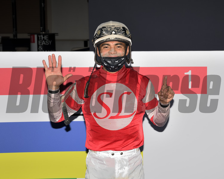 Luis Saez celebrates six wins at Gulfstream Park on Dec. 5, 2020<br /> Coglianese Photos/Lauren King