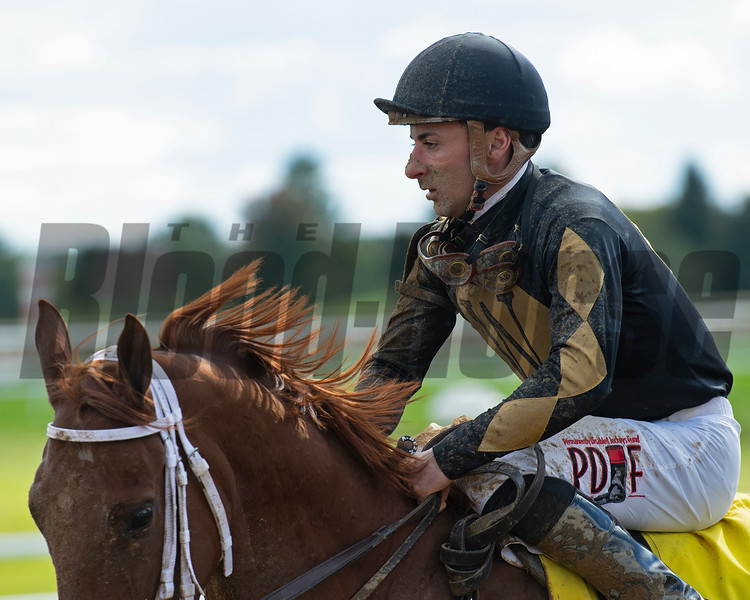Adam Beschizza on American Grace after the sixth race.<br /> Opening day of the Keeneland fall meeting on October 2, 2020.