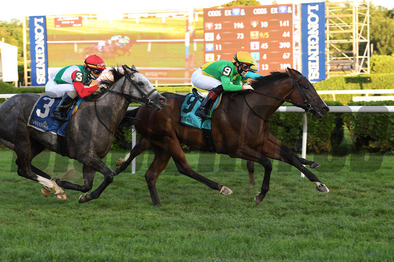 Cariba wins the Caress Stakes Saturday, August 1, 2020 at Saratoga. Photo: Coglianese Photos