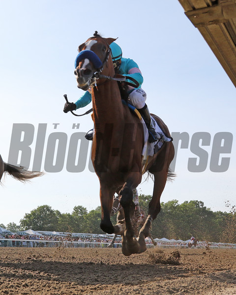 Authentic with Mike Smith win the 53rd Running of the Haskell Stakes (GI) over NY Traffic with Paco Lopez at Monmouth Park on July 18, 2020. Photo By: Chad B. Harmon