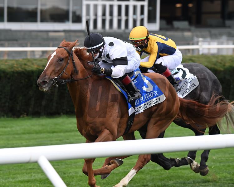 Second of July wins the Futurity Stakes Sunday, October 11, 2020 at Belmont Park. Photo: Coglianese Photos/Joe Labozzetta