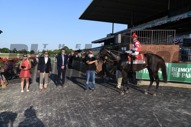Instilled Regard wins the Manhattan Stakes Saturday, July 4, 2020 at Belmont Park. Photo: Coglianese Photos