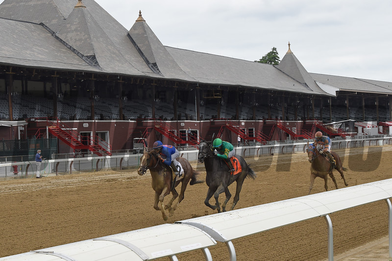 First Race of the 2020 Meet at Saratoga, won by Grit and Glory (#2).<br /> Owner: Drawing Away Stable, Trainer: Linda Rice, Jockey: Luis Cardenas <br /> Coglianese Photos/Chelsea Durand