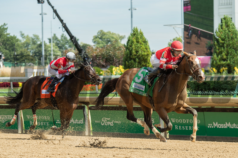 Sconsin with James Graham wins the Eight Belles Stakes (G2) at Churchill Downs, Louisville, KY on September 4, 2020. Photo: Anne M. Eberhardt