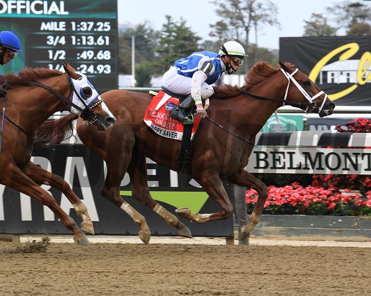 Happy Saver wins the 2020 Jockey Club Gold Cup at Belmont Park<br /> Coglianese Photos/Susie Raisher