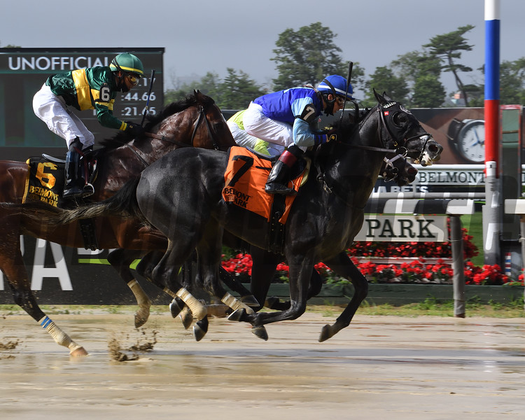 Liam's Pride wins the Gold Fever Stakes Friday, July 10, 2020 at Belmont Park. Photo: Coglianese Photos