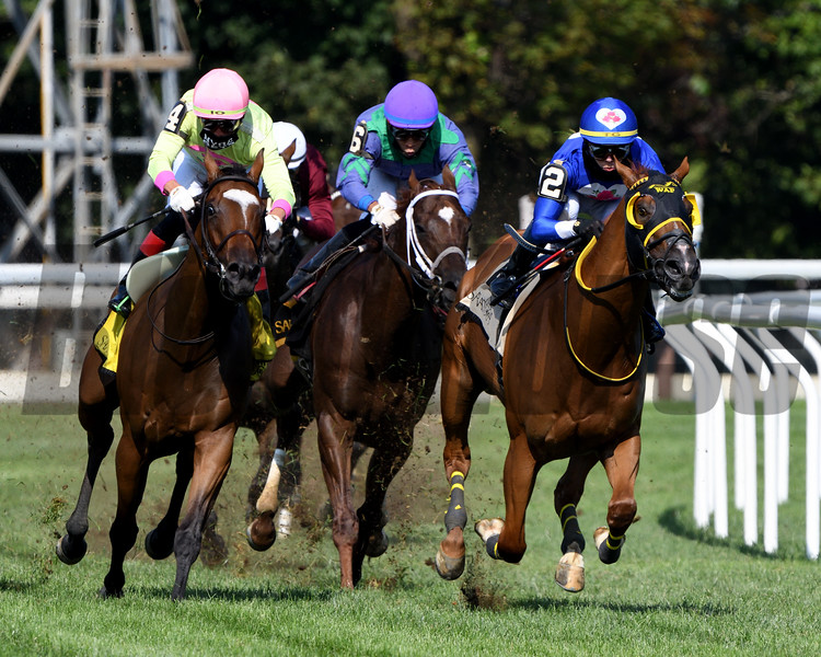 American Sailor (#2 right) with jockey Tyler Gaffalione wins the 2020 Troy at the Saratoga Race Course Saturday when Imprimis was placed third after an inquiry<br /> Coglianese Photos/Elsa Lorieul