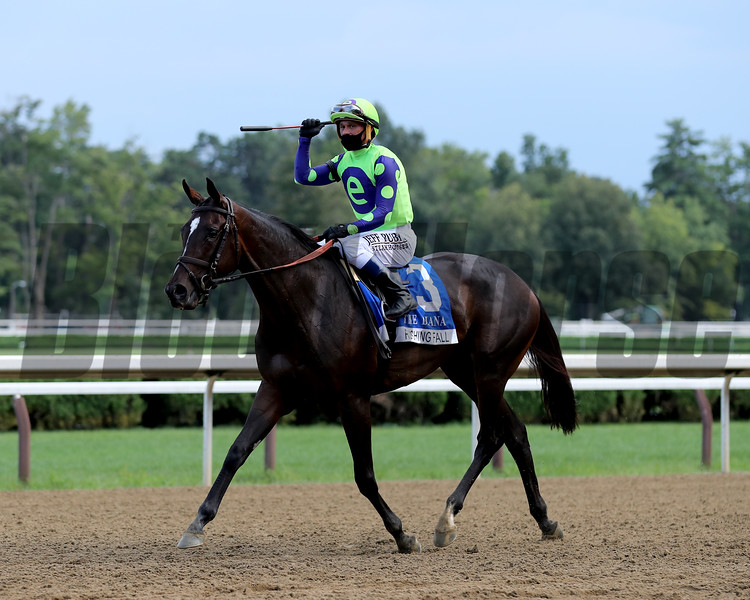 Rushing Fall wins the Diana Stakes Sunday, August 23, 2020 at Saratoga Race Course. Photo: Coglianese Photos/Janet Garaguso