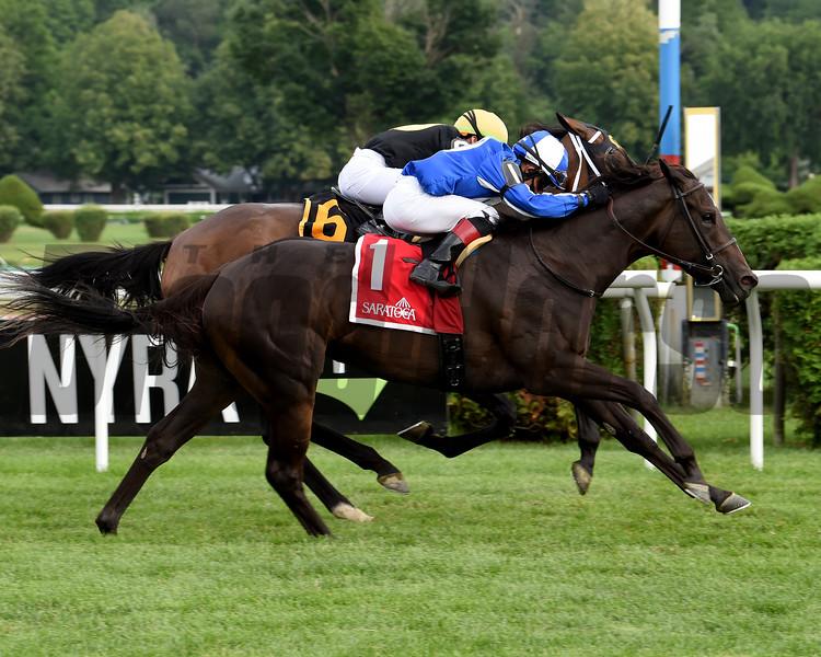 Speaktomeofsummer wins the Lake Placid Stakes Sunday, July 19, 2020 at Saratoga. Photo: Coglianese Photos