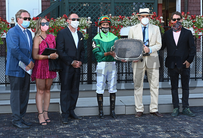 (L-R): Alan Quartucci, ??, Chad Brown, Ortiz, Peter Brant, ??. My Sister Nat with jockey Jose Ortiz wins the 17th running of The Waya GIII  at the Saratoga Race Course Saturday Aug.8, 2020 in Saratoga Springs, N.Y.  Photo by Skip Dickstein/Special to the Times Union