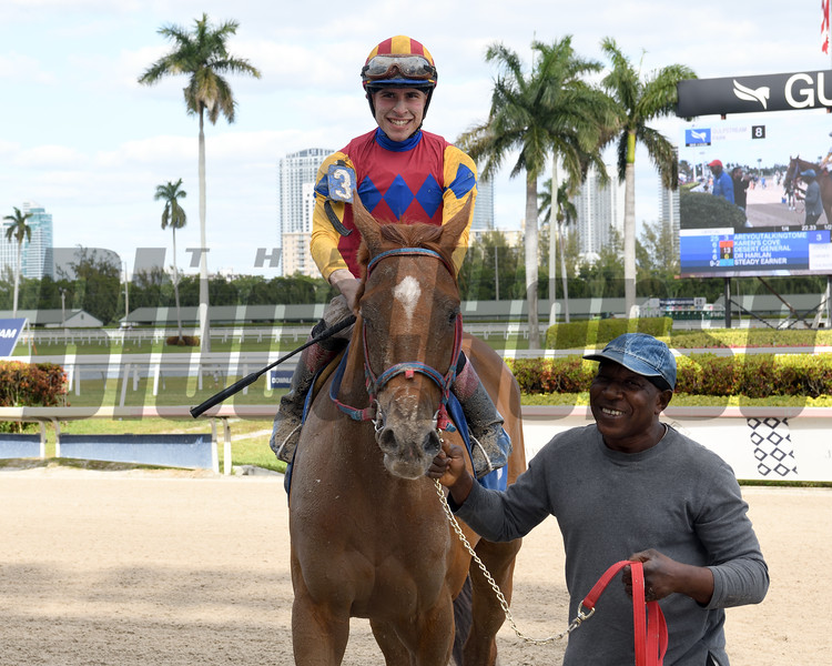 Areyoutalkingtome wins 2020 Claiming at Gulfstream Park/Jockey Mario Fuentes gets first career win. Photo: Coglianese Photos