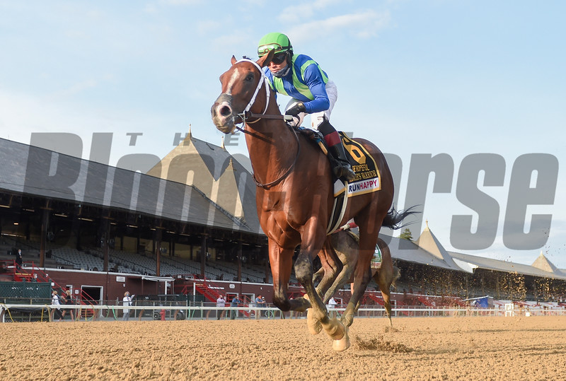 Jackie's Warrior with jockey Joel Rosario wins the Hopeful in a final time of 1:21.29 for the seven furling final Grade 1 Stake of the meeting at the Saratoga Race Course Monday Sept.7, 2020 in Saratoga Springs, N.Y.  Photo: Tim Lanahan