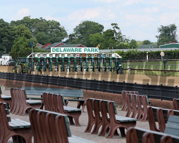 Prior to the start of the 83rd Running of the Delaware Handicap (GII) with more benches than fans at Delaware Park on July 11, 2020. Photo By: Chad B. Harmon