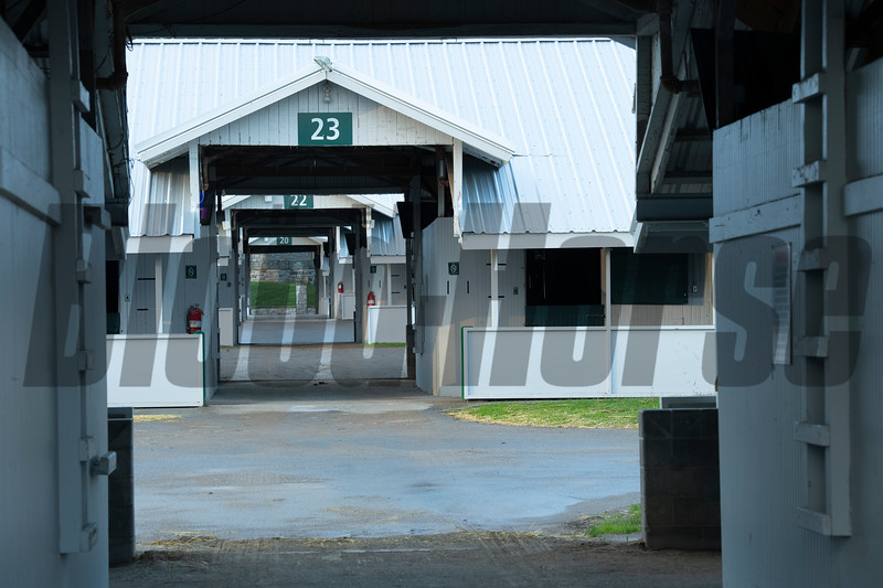 Caption: empty training barns during spring meet<br /> Midnight Bisou at Keeneland on May 2, 2020 Keeneland in Lexington, KY.