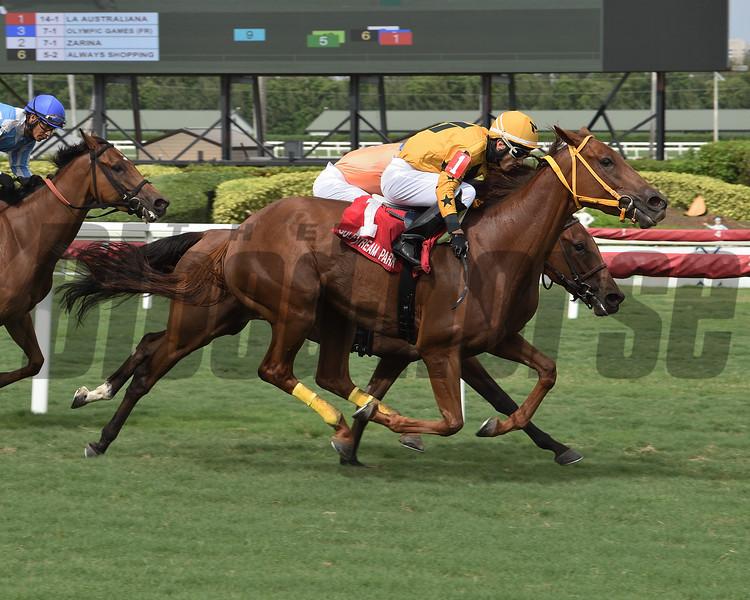 La Australiana wins the Treasure Coast Stakes Sunday, June 7, 2020 at Gulfstream Park. Photo: Coglianese Photos/Lauren King