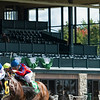 Vasariano with Ricardo Santana Jr. wins the first race of the fall meet with empty clubhouse stands behind. <br /> Opening day of the Keeneland fall meeting on October 2, 2020.
