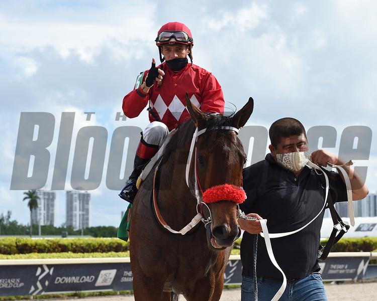 Letruska wins the Rampart Stakes Saturday, December 12, 2020 at Gulfstream Park. Photo: Coglianese Photos/Ryan Thompson