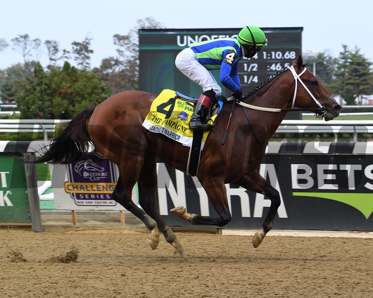 Jackie's Warrior wins the 2020 Champagne Stakes at Belmont Park<br /> Coglianese Photos/Susie Raisher