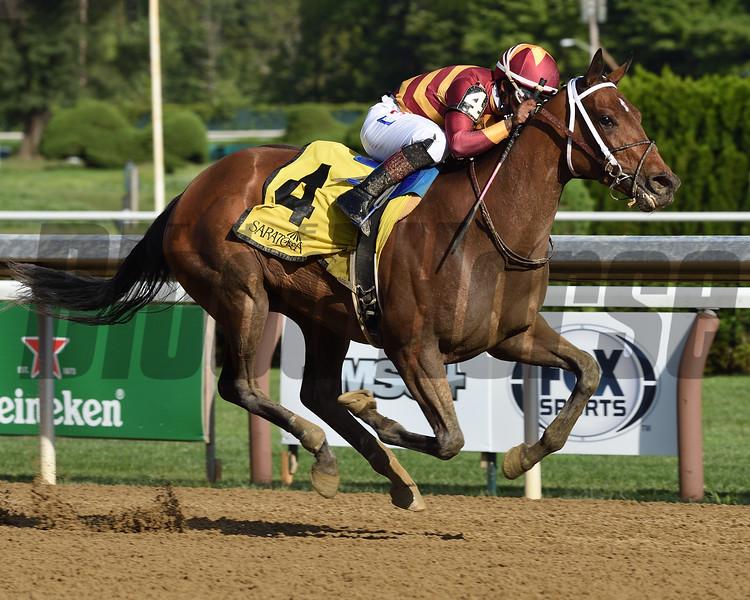 Thoughtfully wins the Adirondack Stakes Wednesday, August 12, 2020 at Saratoga. Photo: Coglianese Photos