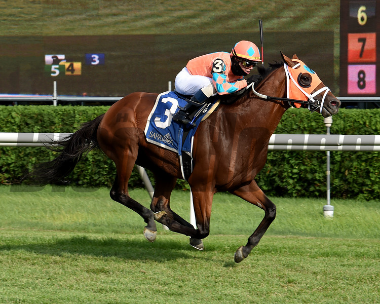 Somelikeithotbrown wins the Bernard Baruch Handicap Sunday, July 26, 2020 at Saratoga Race Course. Photo: Coglianese Photos