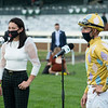 (L-R): Andie Biancone and Florent Geroux. Diamond Oops with Florent Geroux wins the Stoll Kenos Ogden Phoenix (G2) at Keeneland.<br /> Opening day of the Keeneland fall meeting on October 2, 2020.