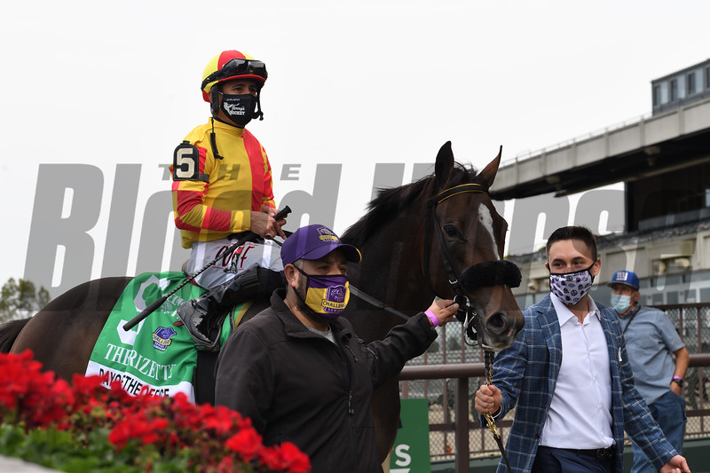 Dayoutoftheoffice wins the 2020 Frizette Stakes at Belmont Park<br /> Coglianese Photos/Janet Garaguso