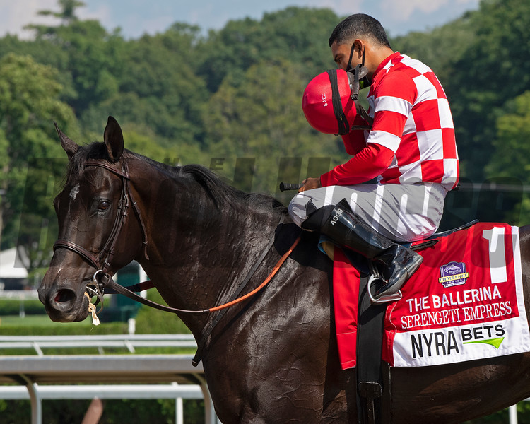 Serengeti Empress with Luis Saez wins the Ballerina (G1) presented by NYRA Bets at Saratoga Race Track on Aug. 8, 2020.