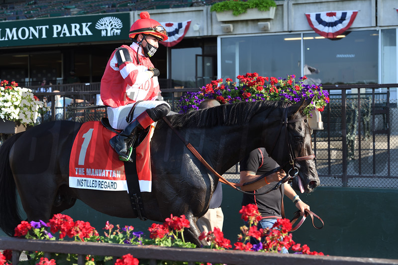 Instilled Regard wins the Manhattan Stakes Saturday, July 4, 2020 at Belmont Park. Photo: Coglianese Photos/Susie Raisher