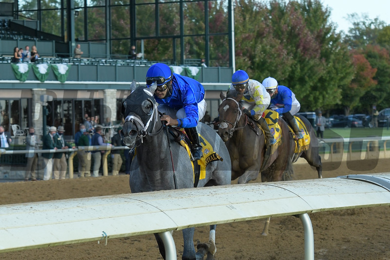 Essential Quality with Luis Saez wins the Claiborne Breeders' Futurity (G1) at Keeneland on October 3, 2020.