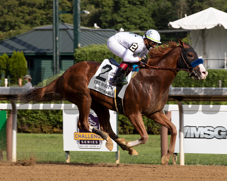 Improbable wins the Whitney Stakes Saturday, August 1, 2020 at Saratoga. Photo: Coglianese Photos/Janet Garaguso