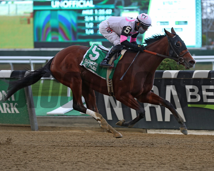Horologist wins the Beldame Stakes Sunday, October 4, 2020 at Belmont Park. Photo: Coglianese Photos/Janet Garaguso
