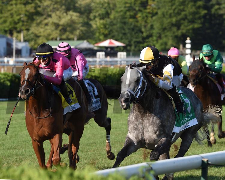 Halladay wins the Fourstardave Handicap Saturday, August 22, 2020 at Saratoga. Photo: Coglianese Photos/Chelsea Durand