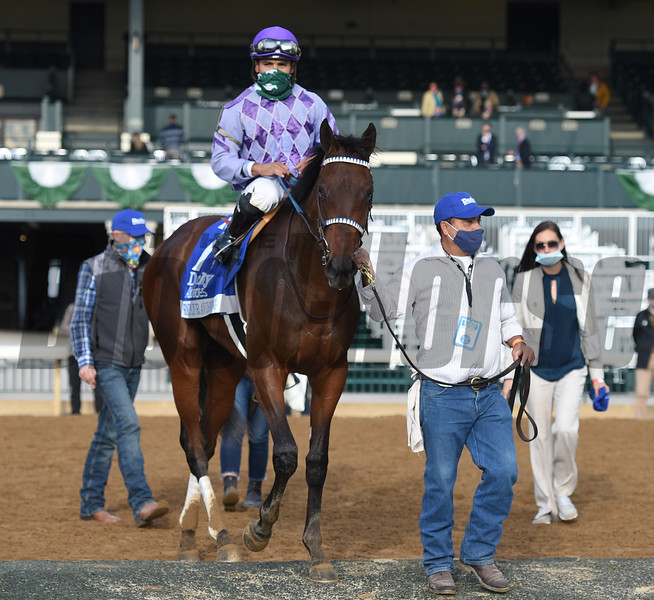 Simply Ravishing with Luis Saez wins the Darley Alcibiades (G1) at Keeneland.<br /> Opening day of the Keeneland fall meeting on October 2, 2020.      <br /> Rick Samuels Photo