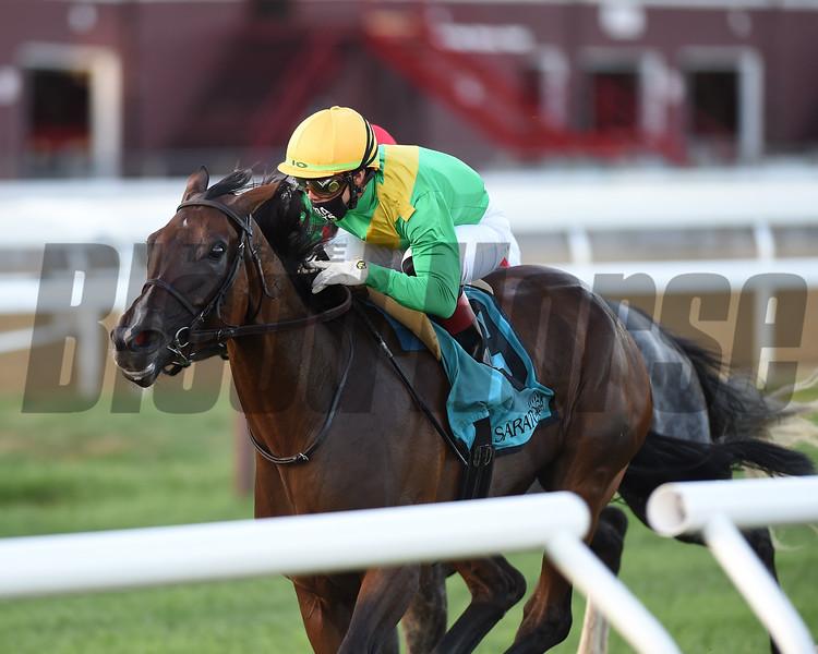Cariba wins the Caress Stakes Saturday, August 1, 2020 at Saratoga. Photo: Coglianese Photos/Chelsea Durand