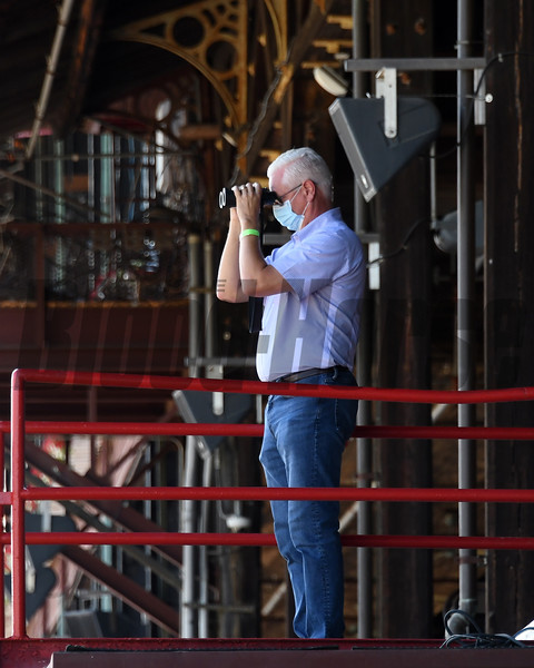 Todd Pletcher watching a race at Saratoga on July 24, 2020<br /> Coglianese Photos/Susie Raisher