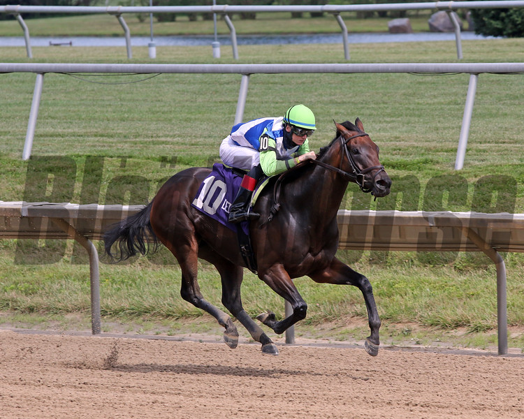 Chalon with Trevor McCarthy win the Dashing Beauty Stakes at Delaware Park on July 11, 2020. Photo By: Chad B. Harmon