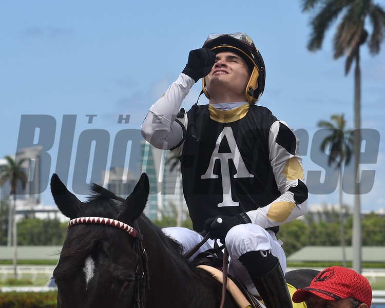 Cristian Torres - 1st win as a journeyman<br /> Lord Adare, Gulfstream Park, June 12, 2020<br /> Cogilanese Photos/Lauren King