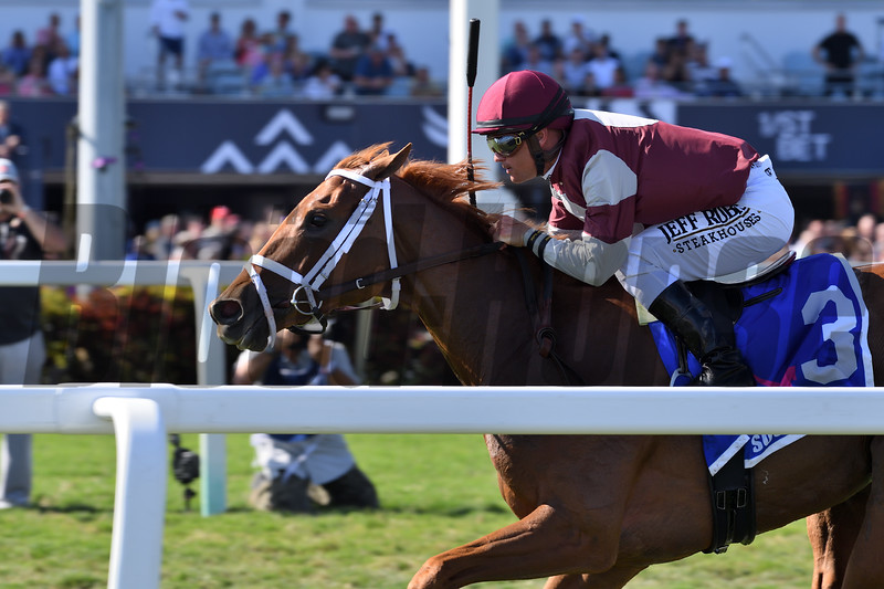 Atomic Blonde wins the 2020 South Beach Stakes at Gulfstream Park<br /> Coglianese Photos/Derbe Glass