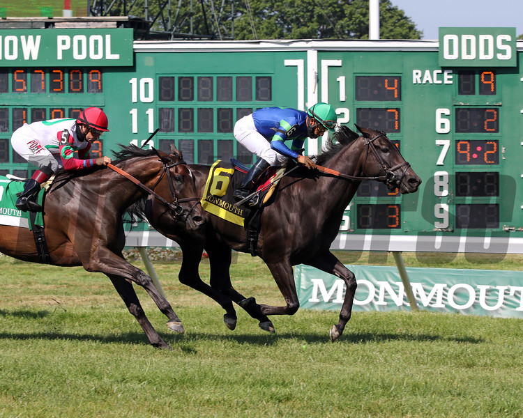 Nay Lady Nay with Paco Lopez win the 54th Running of the Winstar Matchmaker Stakes (GIII) at Monmouth Park on July 18, 2020. Photo By: Chad B. Harmon