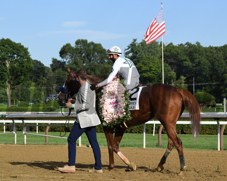 Improbable wins the Whitney Stakes Saturday, August 1, 2020 at Saratoga. Photo: Coglianese Photos/Susie Raisher