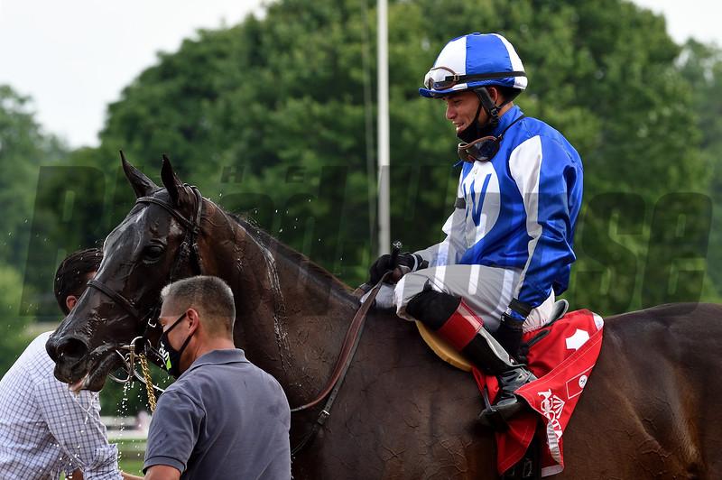 Speaktomeofsummer wins the Lake Placid Stakes Sunday, July 19, 2020 at Saratoga. Photo: Coglianese Photos/ Chelsea Durand