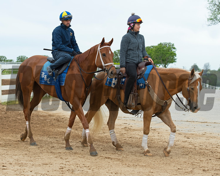 Caption: Monomoy Girl  with Florent Geroux leaves the track<br /> Keeneland scenes and horses on April 25, 2020 Keeneland in Lexington, KY.