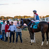 Harper's First Ride with jockey Angel Cruz aboard in the winner's circle presentation after winning the Pimlico Special Friday Oct 2, 2020 at Pimlico Race Course in Baltimore, MD.  Photo by Skip Dickstein