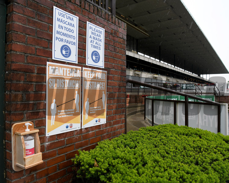 Belmont Park Opening Day, June 3, 2020 <br /> COVID-19 Signage<br /> Coglianese Photos