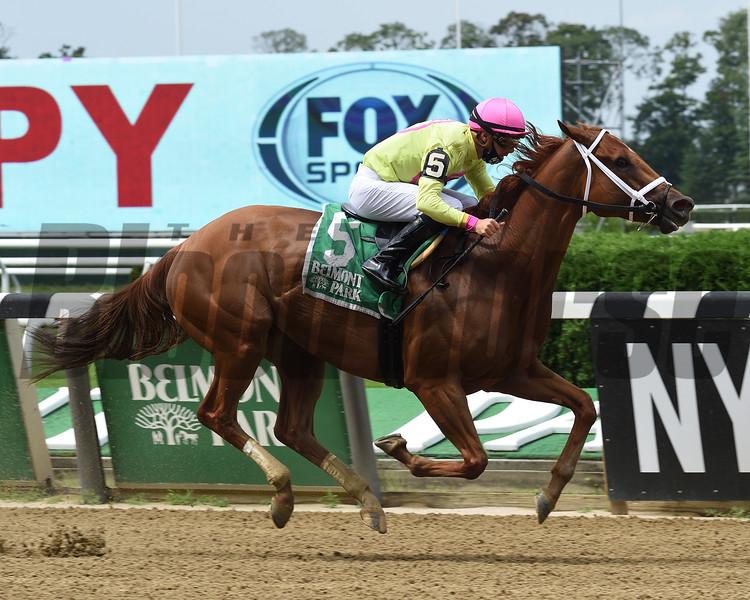 Monomoy Girl wins the Ruffian Stakes Saturday, July 11, 2020 at Belmont Park. Photo: Coglianese Photos/Elsa Lorieul