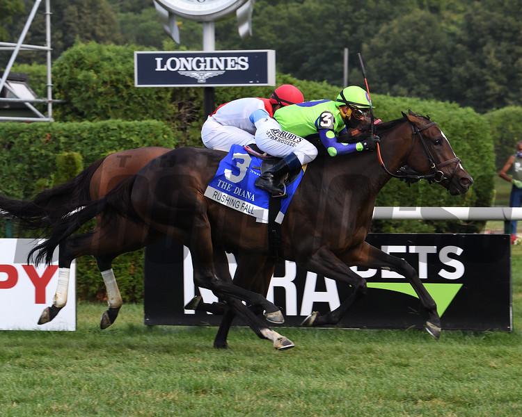 Rushing Fall wins the Diana Stakes Sunday, August 23, 2020 at Saratoga Race Course. Photo: Coglianese Photos
