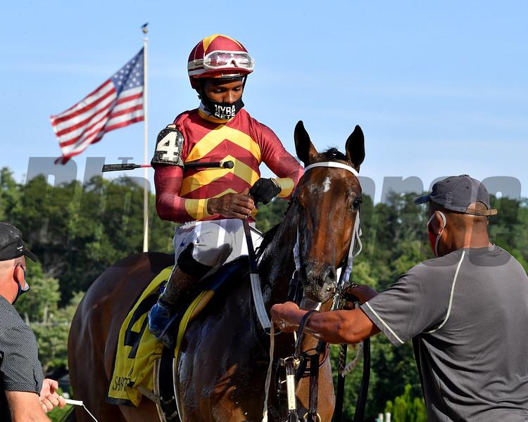 Thoughtfully wins the Adirondack Stakes Wednesday, August 12, 2020 at Saratoga. Photo: Coglianese Photos/Chelsea Durand